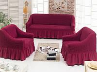 Чохол з оборкою бордовий на диван +2 крісла, Туреччина, фото 1