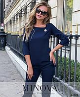 Стильний зручний  жіночий костюм синій  розмір 42 44 46 48