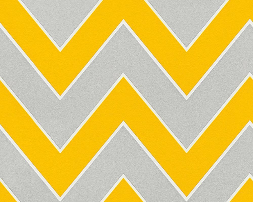 Немецкие обои 347754 ярко желтый и светло серый шеврон зиг-заг, узор креативный зигзаг, зигзагообразные линии