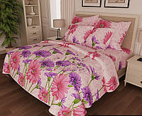 Постельный комплект 1.5x Бязь GOLD Фиолетовые цветы на розовом