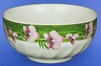Салатник 700мл. белый с деколью Бамбук-пурпурная орхидея