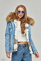 Короткая женская джинсовая зимняя куртка с мехом П-56, фото 1