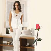Белая пижама Турецкий трикотаж   Т 9835  Белый