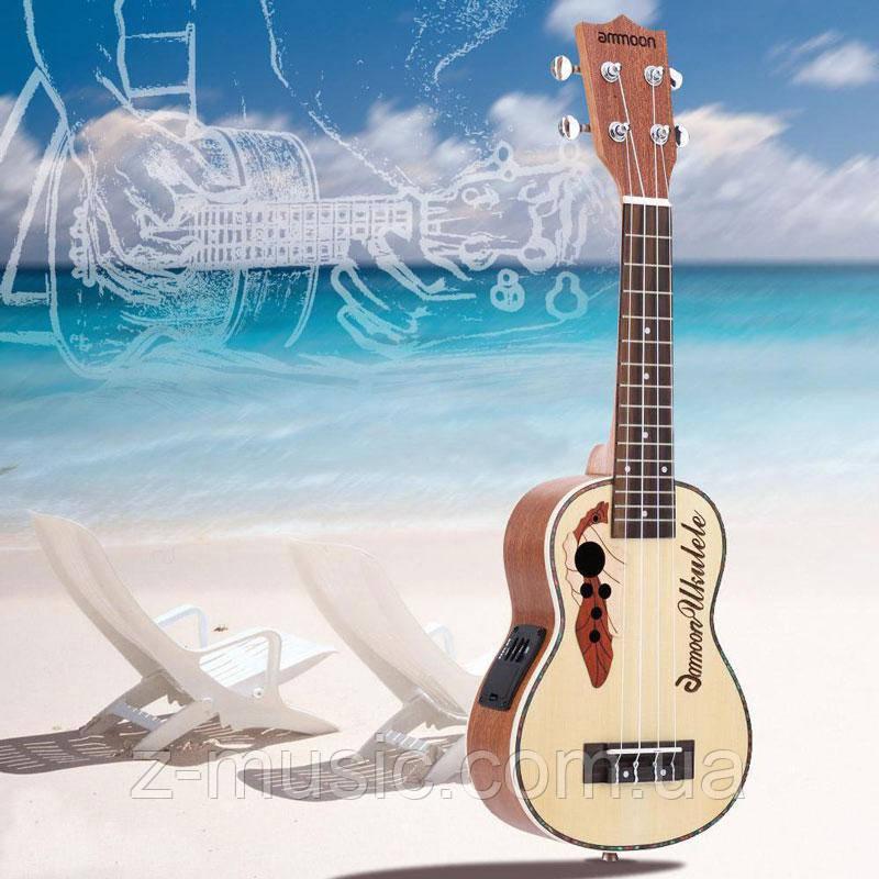 Электроакустическое укулеле сопрано Ammoon + 2 медиатора