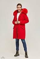 Женская парка-пальто зимняя из кашемира с мехом П-57, фото 1