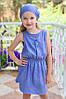 Летнее повседневное платье деним для девочек от 4 до 8 лет, в горошек