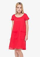 Красное льняное платье , фото 1