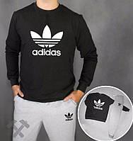 Мужской спортивный костюм Adidas, Адидас, серо-черный