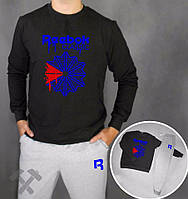 Спортивный костюм Reebok, Рибок, черно-синий (в стиле)