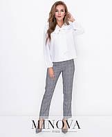 Стильний елегантний жіночий костюм блуза+брюки в клітинку білий+сірий розмір 42 44 46 48