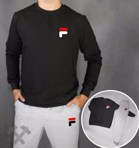 e74d3724 Мужской спортивный костюм Fila, Фила, серо-черный (в стиле): продажа ...