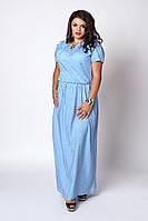 Платье мод №504-6, размер 52-54,54-56,56-58 голубой горох