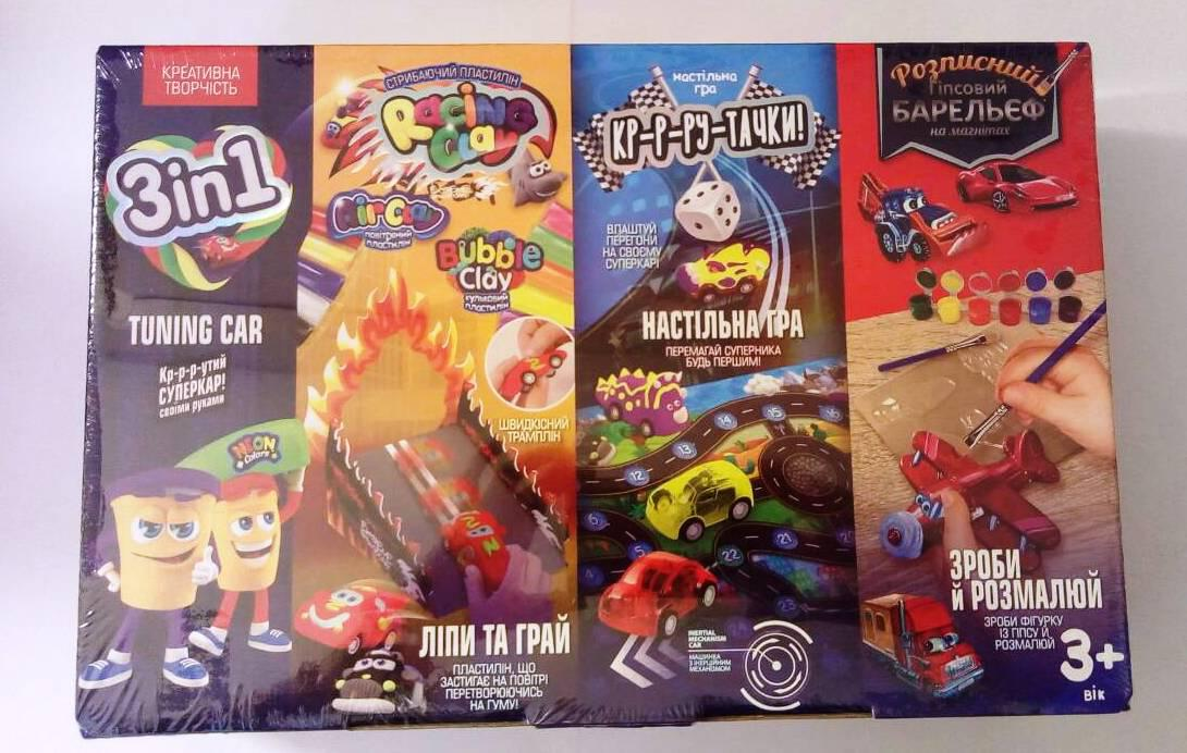 Суперкар 3 в 1, набор для творчества: машинка+лепка с шариковым пластилином,  игра, гипсовый барельеф (укр)