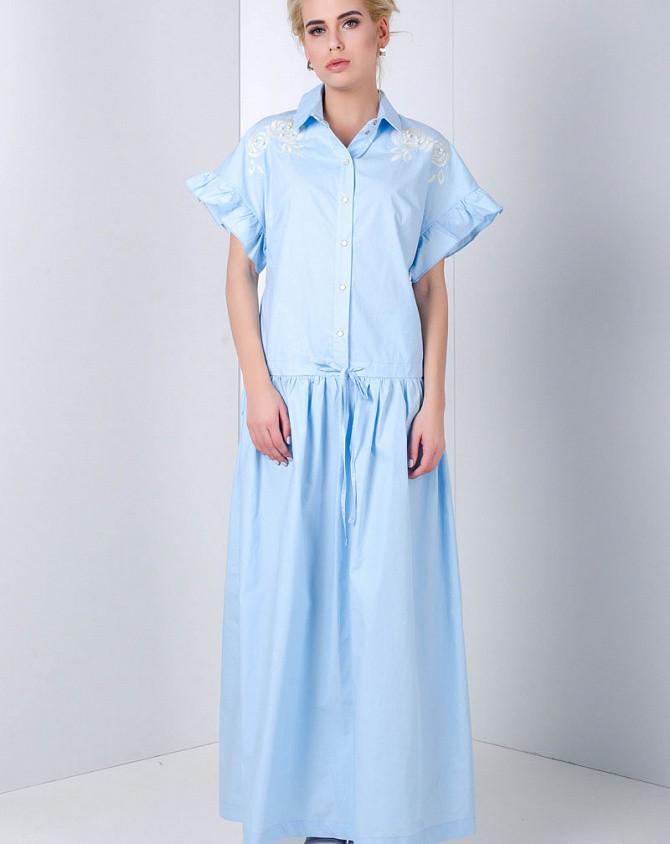 Женское платье летнее SOLH стильное макси коттоновое голубое на каждый день с заниженной талией MKSH1999