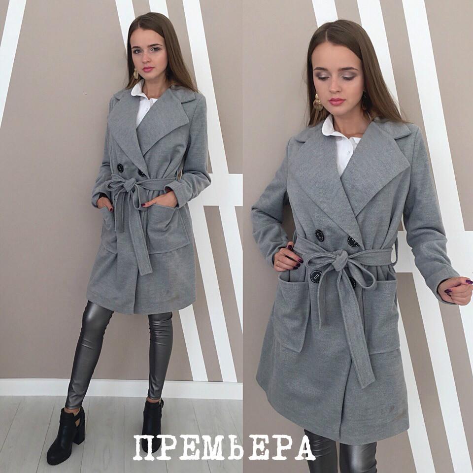 Пальто полушерсть с поясом иворотником апаш