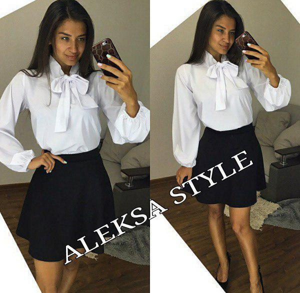 Костюм классический юбка клеш и блуза с бантом