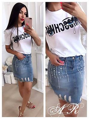 Юбка джинсовая миди с пайетками и потертостями, фото 2