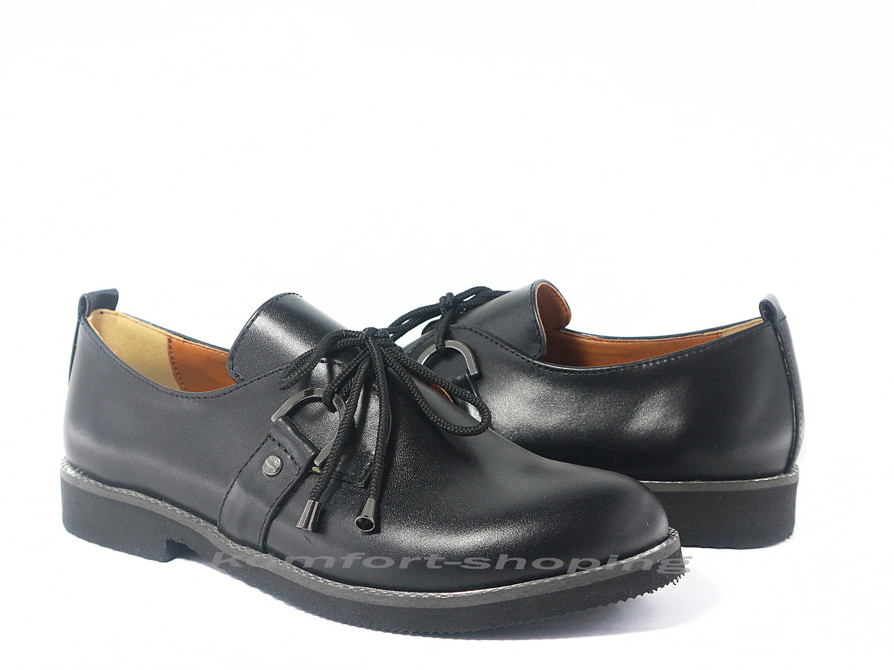Туфли  женские  кожаные, черные V 1198