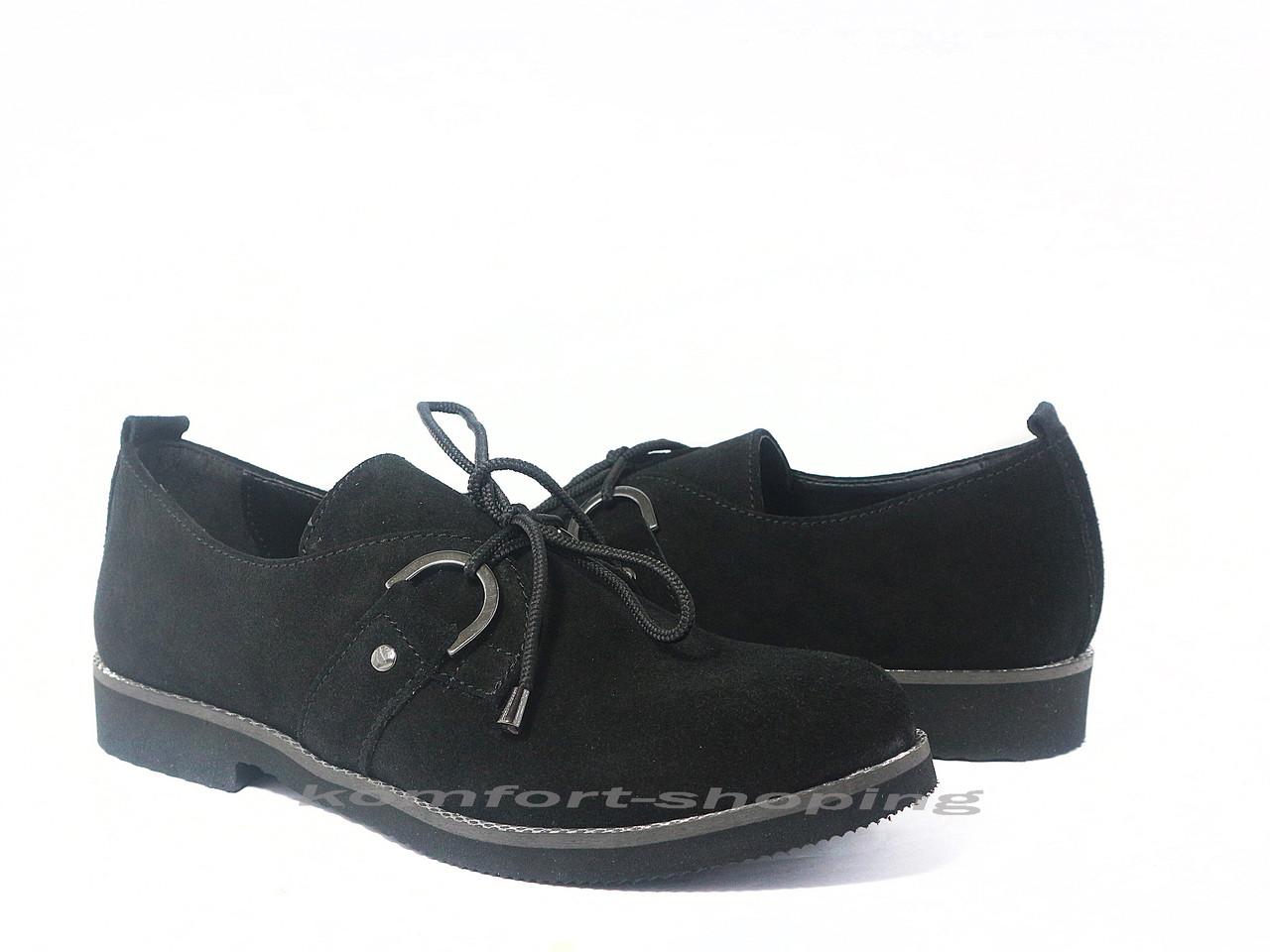 Туфли  женские  замшевые, черные V 1198