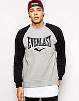 Мужская спортивная кофта (спортивный свитшот) Everlast, эверласт, серо-черная (в стиле)