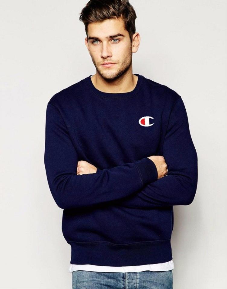 Мужская спортивная кофта (спортивный свитшот) Champion, чемпион, темно-синяя (в стиле)