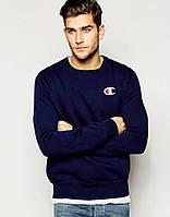 Мужская спортивная кофта (спортивный свитшот) Champion, чемпион,  темно-синяя (в 54e41fd705c