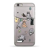 Накладка для iPhone 6/6s силікон Pump Raccoon Family