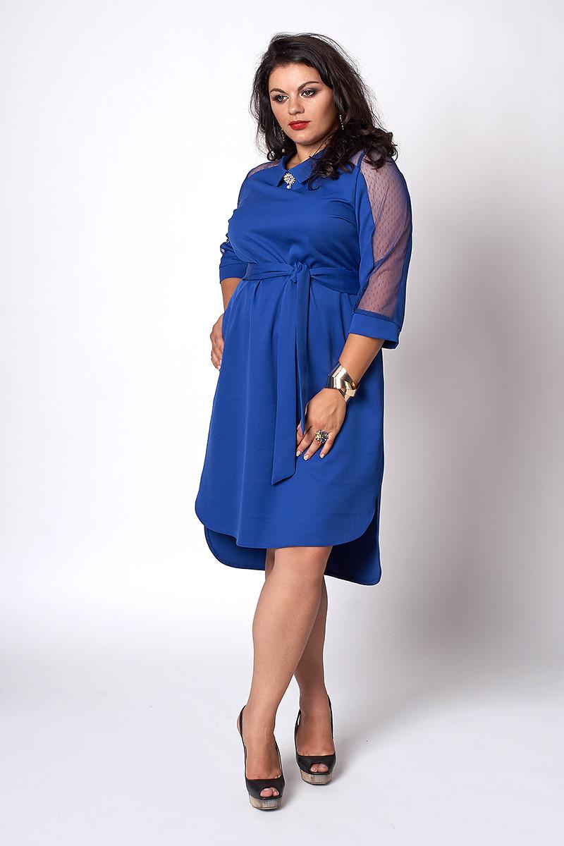 Платье мод №570-1, размеры 50,52,54 электрик