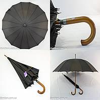 """Черный зонтик-трость оптом на 16 металлических спиц с куполом 114 см. от фирмы """"Feeling Rain""""., фото 1"""