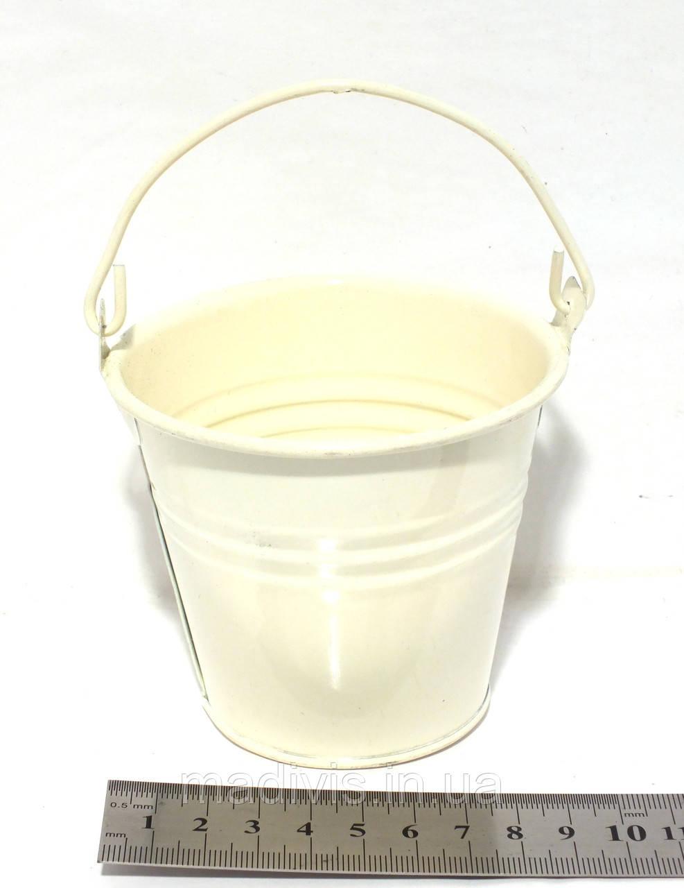 Ведро декоративное 10 х 10 см., КРЕМОВОЕ (шампань)