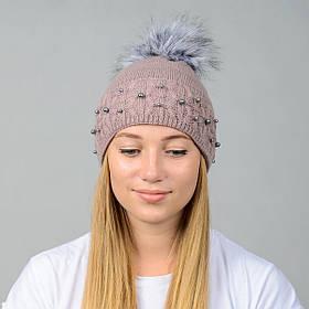 """Вязаная женская шапка """"Fibi"""" с меховым помпоном"""
