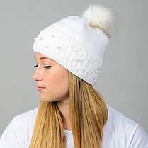 """Вязаная женская шапка """"Fibi"""" с меховым помпоном, фото 3"""