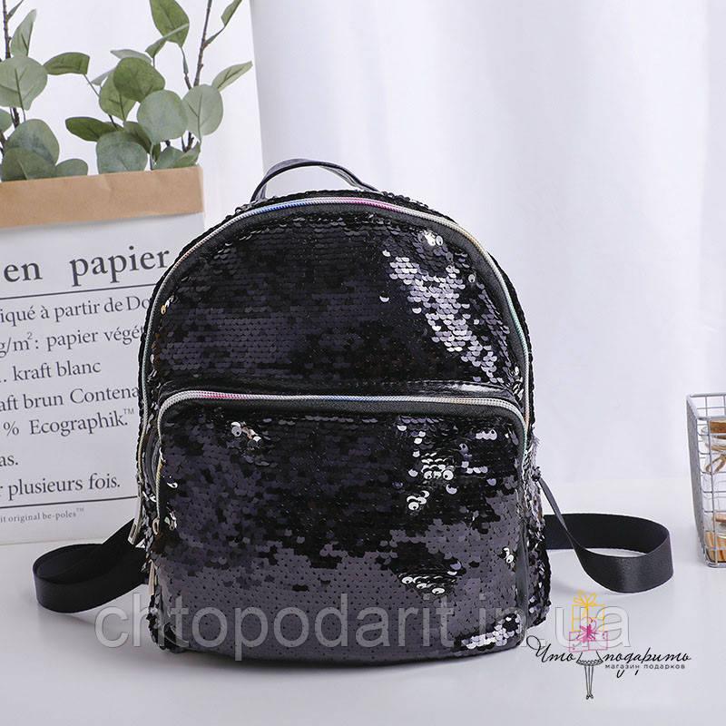 Рюкзак с пайетками меняющий цвет черно-серебряный Код 10-6445