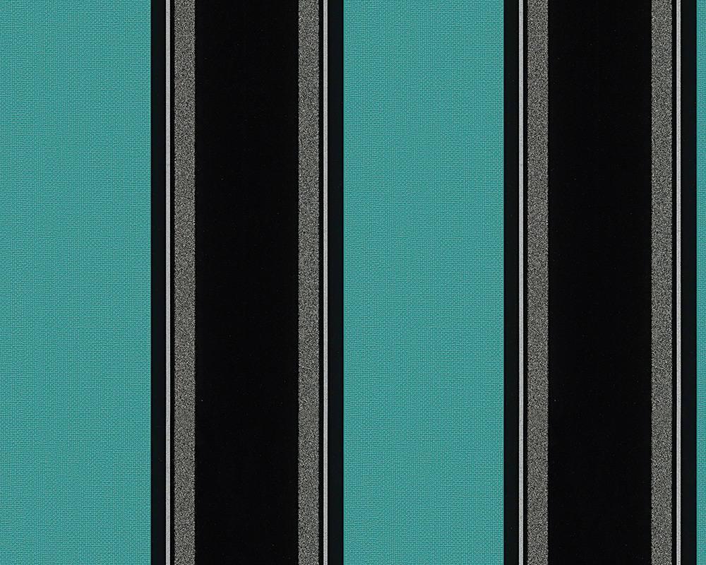 Обои в черную полоску на бирюзовом 957043.
