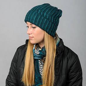 """Удлиненная женская шапка """"Stella"""" с отворотом, фото 2"""