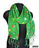 Зеленый горохами льняной шарф
