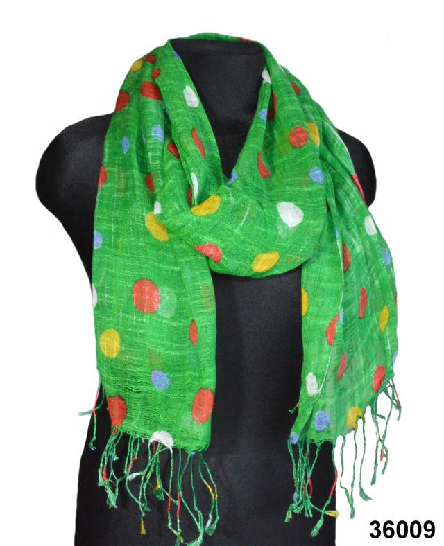 Зеленый горохами льняной шарф фото 1