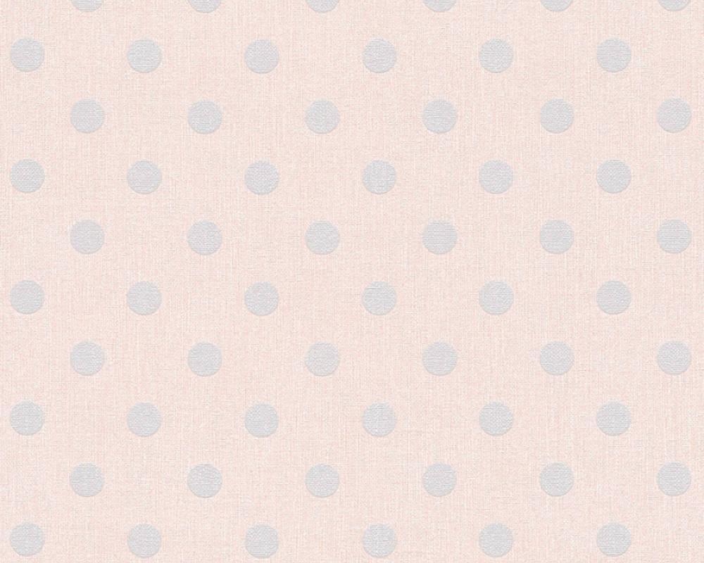 Обои с узором - серый горох на серовато - розовом 351481.