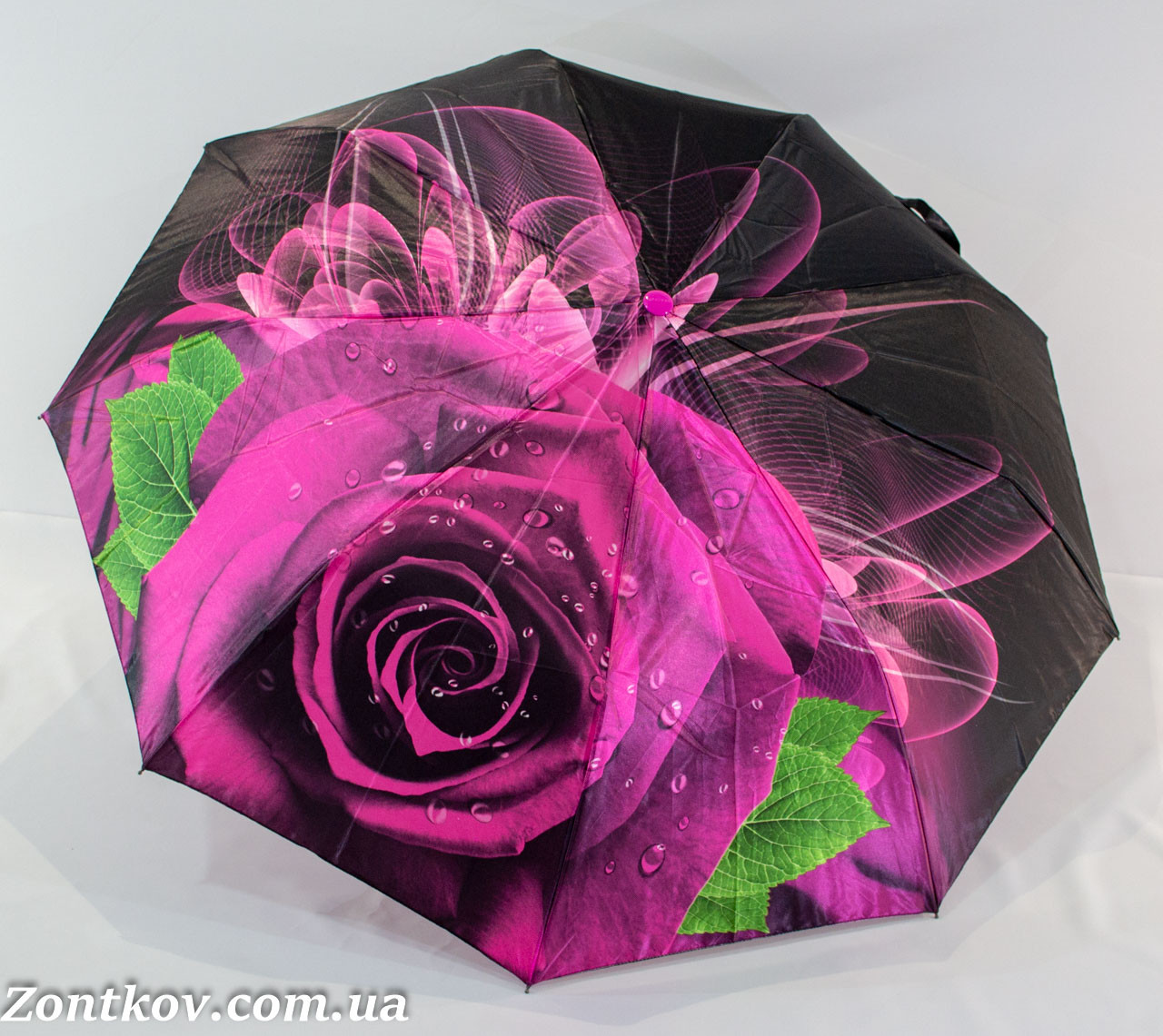 "Женский зонт полуавтомат сатин ""3D rose flower"""