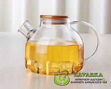 Заварочный стеклянный чайник с деревянной крышкой и фильтром-пружинкой в носике, объем 1 л, фото 2