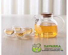 Заварочный стеклянный чайник с деревянной крышкой и фильтром-пружинкой в носике, объем 1 л, фото 3