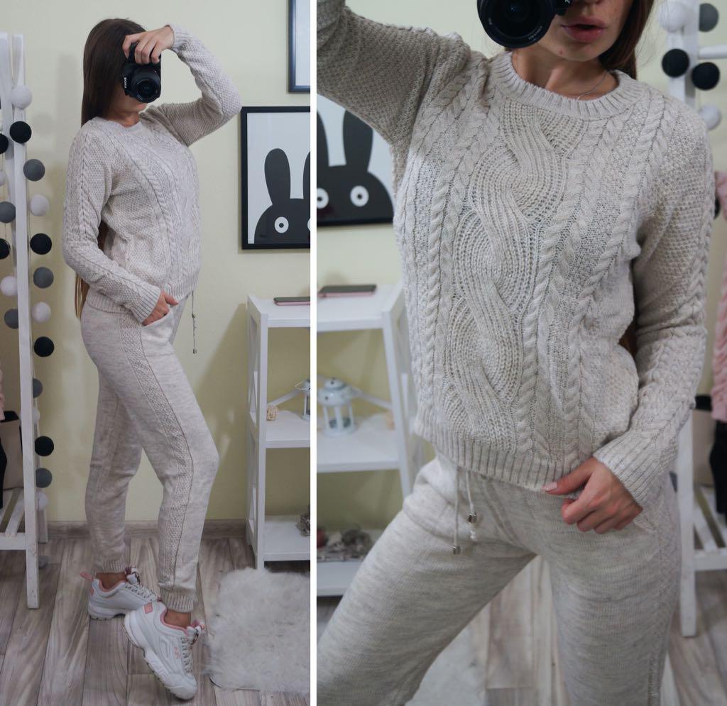 Осень 2018!Теплый и модный, женский, вязаный костюм: штаны ...