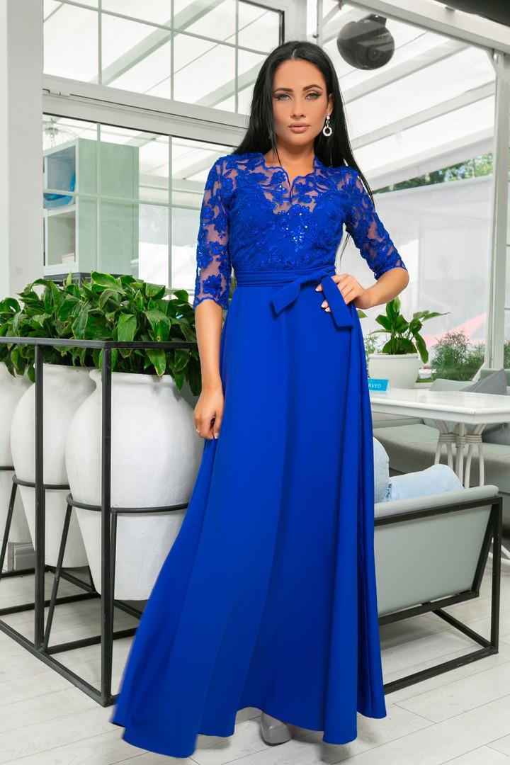 cf9cda2cc536 Длинное вечернее платье с гипюровым верхом (р.44-52), цена 950 грн ...