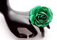 """Кольцо с цветком из ткани ручной работы """"Роза Зеленая"""""""
