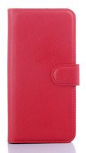Кожаный чехол-книжка для  HTC One M9 красный