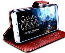 Кожаный чехол-книжка для Huawei Honor 9 Lite коричневый, фото 2