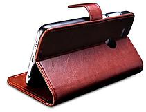 Кожаный чехол-книжка для Huawei Honor 9 Lite коричневый, фото 3
