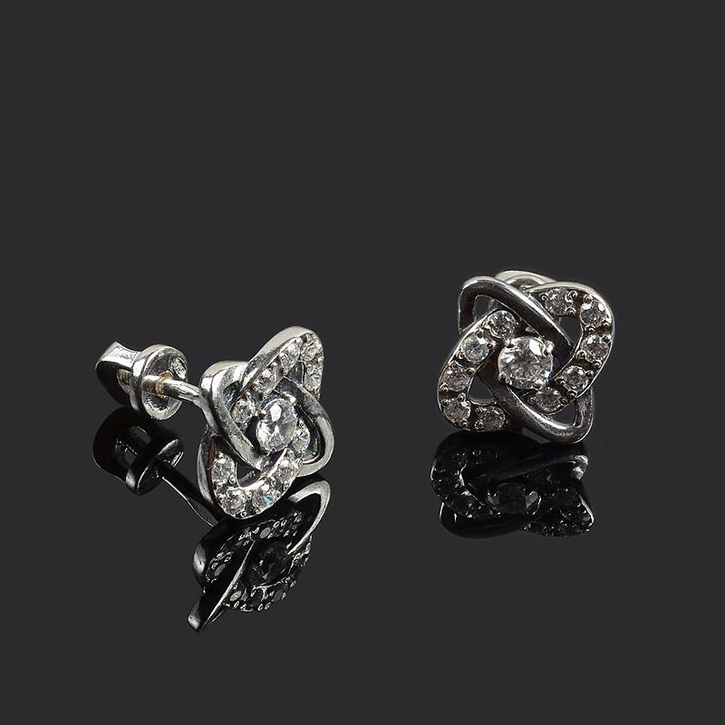Серебряные гвоздики (пусеты) Эллипс