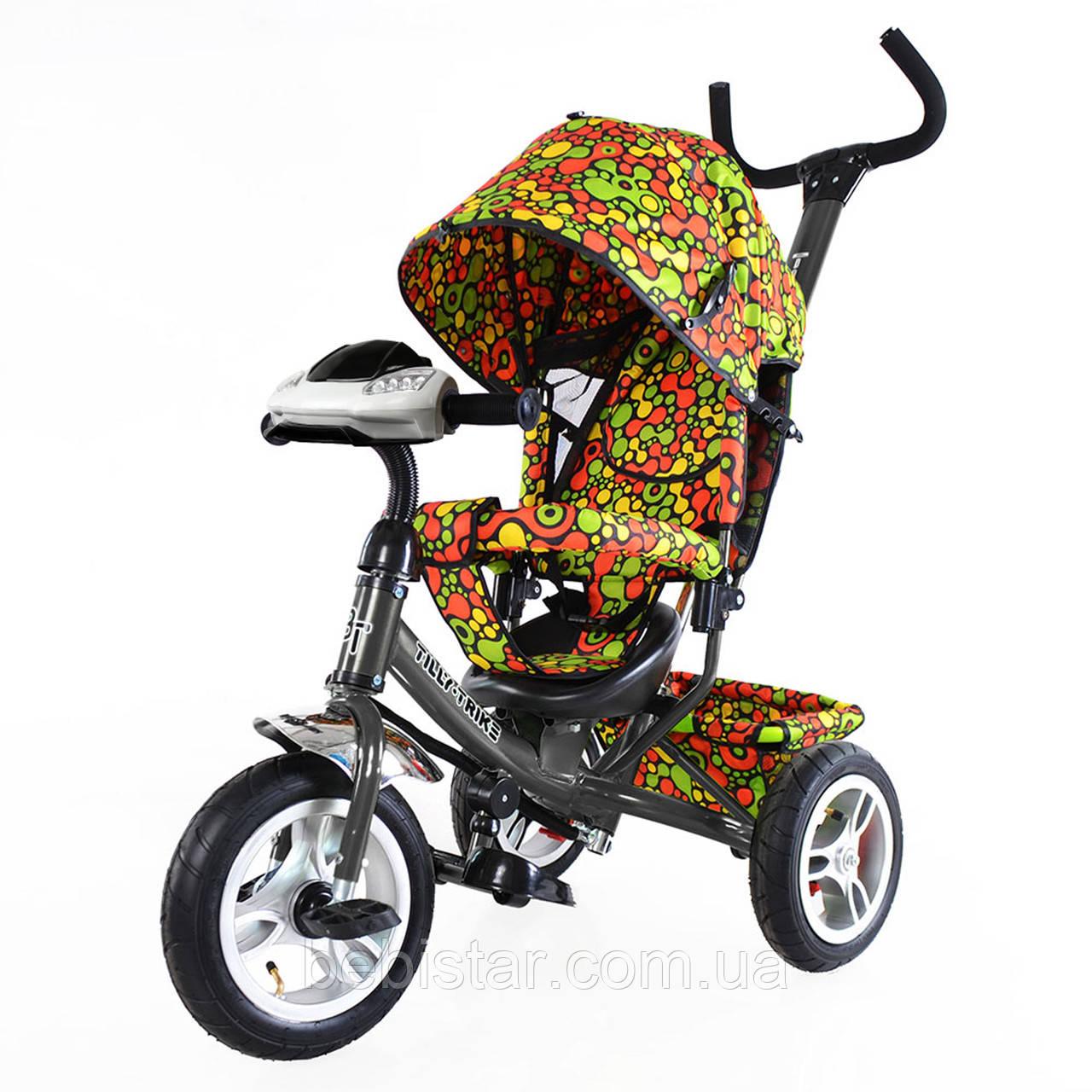 Детский трехколесный велосипед с музыкой и светом TILLY Trike T-351-4 надувные колеса графитовый