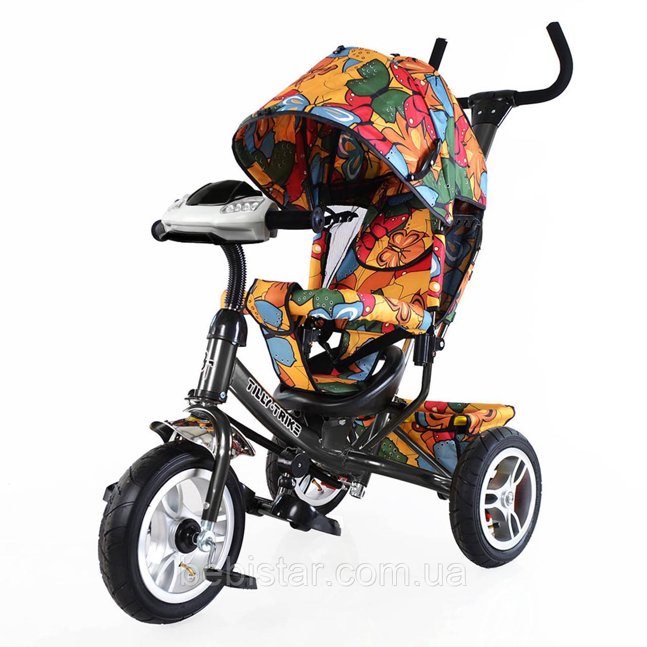 Детский трехколесный велосипед музыка и свет TILLY Trike T-351-7 надувные колеса графитовый